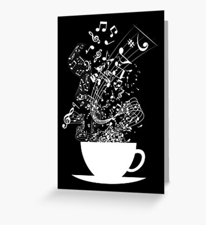 Cup of Music (White) Greeting Card