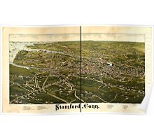 Panoramic Maps Stamford Conn Poster