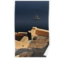 Sailing ship, Santorini Poster
