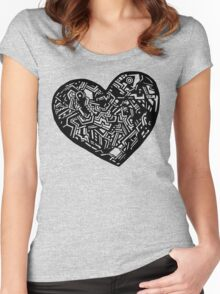 Geometric Solid Heart_Black Women's Fitted Scoop T-Shirt