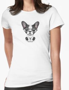 Cute French Bulldog Puppy with Glasses, Teal Blue Womens Fitted T-Shirt