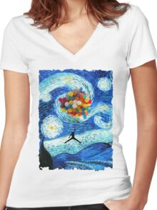 Basketball Starry Night Women's Fitted V-Neck T-Shirt