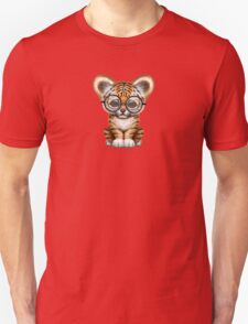 Cute Baby Tiger Cub Wearing Glasses on Red Unisex T-Shirt