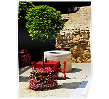 Table. Bottle of Wine. Red cloth. Tree. Flowers. Sun. Budapest. Poster