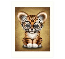 Cute Baby Tiger Cub Wearing Glasses on Brown Art Print