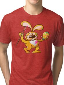 Easter Bunny Painting an Egg Tri-blend T-Shirt