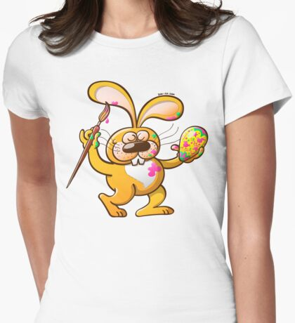 Easter Bunny Painting an Egg Womens Fitted T-Shirt