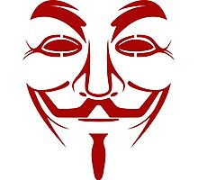 Red Guy Fawkes Mask Photographic Print