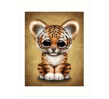 Cute Baby Tiger Cub on Brown Art Print