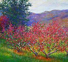 Peach treesin the evening light by Julia Lesnichy