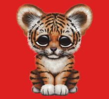 Cute Baby Tiger Cub on Red Kids Tee