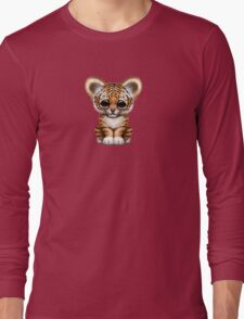 Cute Baby Tiger Cub on Red Long Sleeve T-Shirt