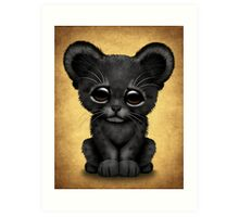 Cute Baby Black Panther Cub on Brown Art Print