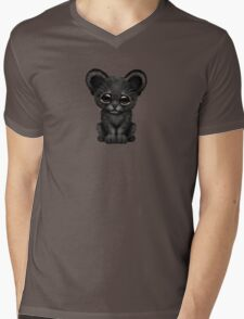 Cute Baby Black Panther Cub on Brown Mens V-Neck T-Shirt