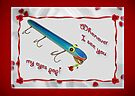 Love and Romance Card - Goo Goo Eyes Vintage Fishing Lure by MotherNature