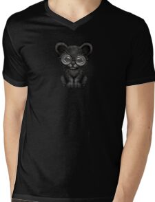 Cute Baby Black Panther Cub Wearing Glasses on Brown Mens V-Neck T-Shirt