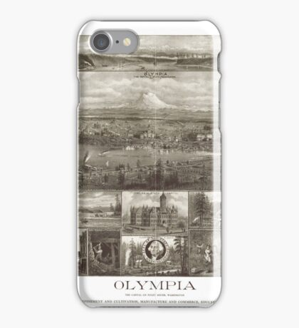 Panoramic Maps Olympia the capital on Puget Sound Washington iPhone Case/Skin