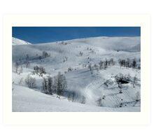 Spring snow landscape - Skytjeset in Granvin Art Print