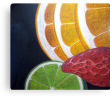 Luminous Fruit Collage in Chalk Pastel Canvas Print