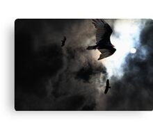 The Vultures Have Gathered In My Dreams . Version 2 . Golden Canvas Print