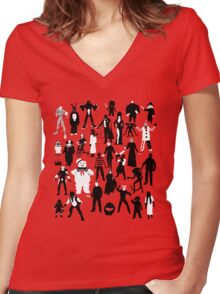Horror Characters  Women's Fitted V-Neck T-Shirt