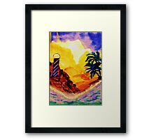 Brightday at the lighthouse, watercolor Framed Print