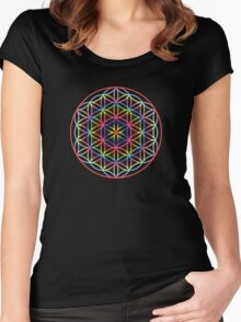 Flower of Life, Psychedelic Rainbow Women's Fitted Scoop T-Shirt