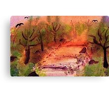 Misty Fall day on path, watercolor Canvas Print