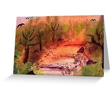 Misty Fall day on path, watercolor Greeting Card