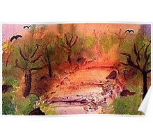 Misty Fall day on path, watercolor Poster