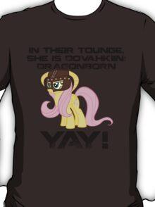 Fluttershy Dovahkiin (Text) T-Shirt