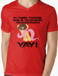 Fluttershy Dovahkiin (Text) Mens V-Neck T-Shirt