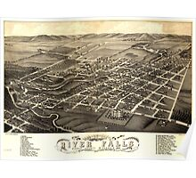 Panoramic Maps Bird's eye view of River Falls Pierce County Wisconsin 1880 Poster