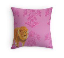 Wallpaper Lion Pink Throw Pillow