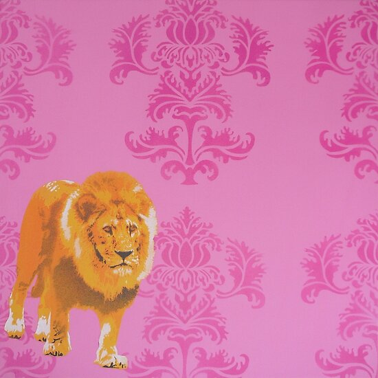 Wallpaper Lion Pink by Nicole Tattersall