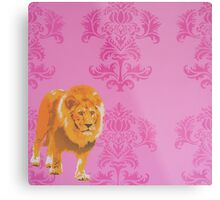 Wallpaper Lion Pink Metal Print