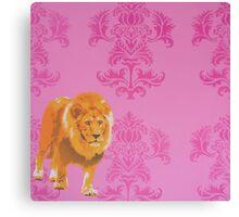 Wallpaper Lion Pink Canvas Print