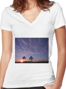 Sunset and Whispy Clouds Women's Fitted V-Neck T-Shirt