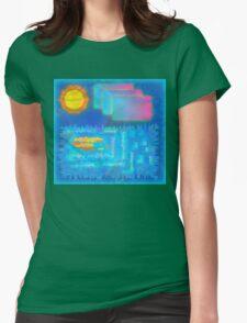Vaporwave-Ocean Blues Womens Fitted T-Shirt