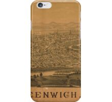 Panoramic Maps Greenwich NY iPhone Case/Skin