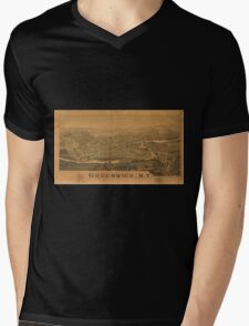Panoramic Maps Greenwich NY Mens V-Neck T-Shirt