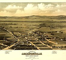 Panoramic Maps Bird's eye view of Jacksonville and the Rogue River Valley Oregon 1883 by wetdryvac