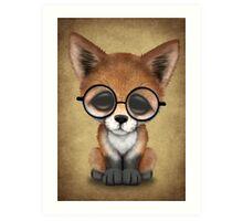 Cute Red Fox Cub Wearing Glasses  Art Print