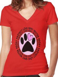 Animal Spay Neuter Adopt T-Shirt Women's Fitted V-Neck T-Shirt