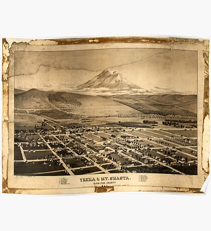 Panoramic Maps Yreka & Mt Shasta Siskiyou County Cal looking south east Poster