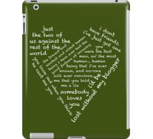 Quotes of the Heart - Johnlock (White) iPad Case/Skin