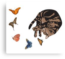 Sleeping Cat with Butterflies Canvas Print