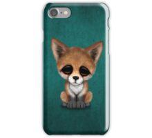 Cute Red Fox Cub on Teal Blue iPhone Case/Skin