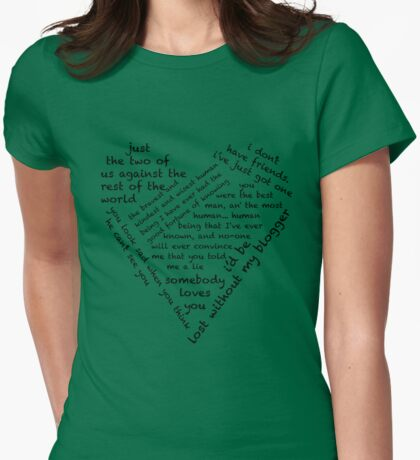 Quotes of the Heart - Johnlock (Black) Womens Fitted T-Shirt