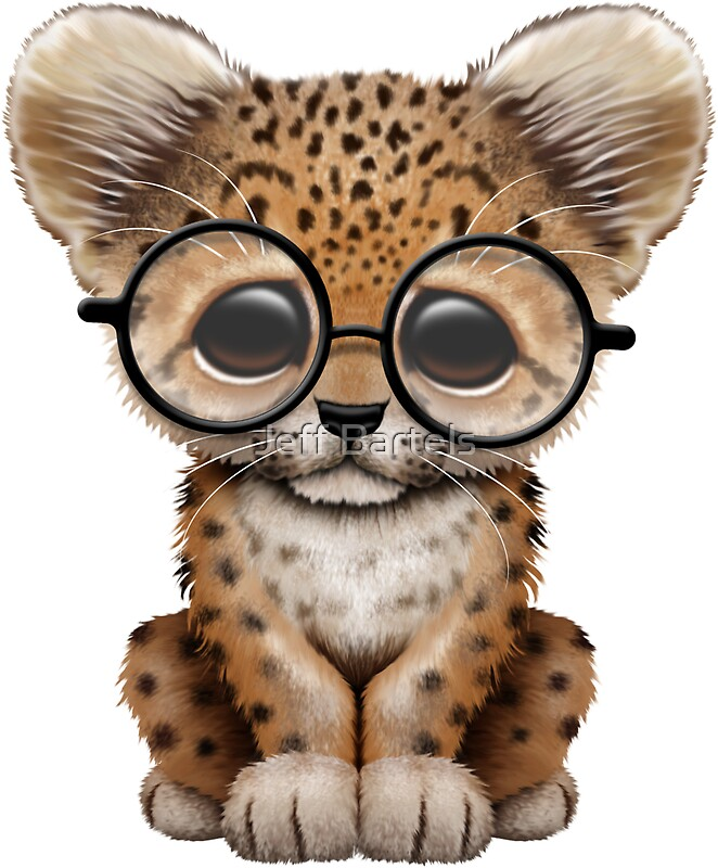 Quot Cute Baby Leopard Cub Wearing Glasses On Red Quot Stickers By